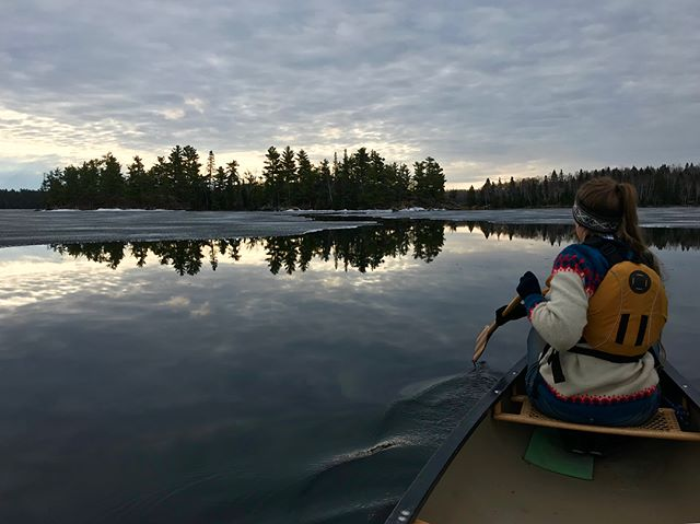 Morning paddle through the breaking up ice on Falcon Lake with @caleighchristie and #heidithedog  @falcontrails #exploremb #explorecanada @novacraftcanoe