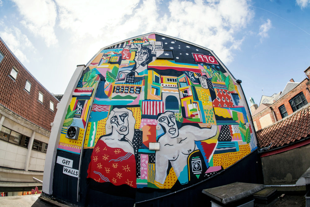 Bar Tapas Anmars most impressive project to date is a commissioned mural for Bar Tapas and Thorns in Norwich, which saw him take to three stories of scaffolding to produce a complex and dramatic 15m x 10m mural on the side of a building.