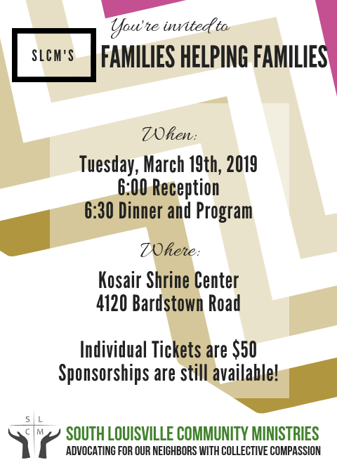 Celebrate Community - With more than 200 guests, we will honor a very special keynote speaker, award a good samaritan as the Neighbor of the Year, and enjoy music from Hora Certa!To nominate someone for the Neighbor of the Year award, please fill out this form. If your nominee is chosen, you both will win two tickets to the dinner!There will be a cash bar and cocktail attire is suggested.SLCM advocates for our neighbors through collective compassion. We believe it is a community's responsibility to know and help their neighbors in their time of crisis. Our community extends to 72,407 people and we struggle with the second highest poverty rates in Louisville, but we believe that through collaboration and kinship, we can be that compassionate home base to everyone.Click Here to purchase tickets and sponsorships!