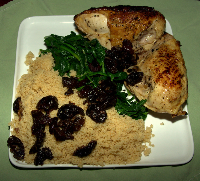 chicken, couscous, spinach and prunes