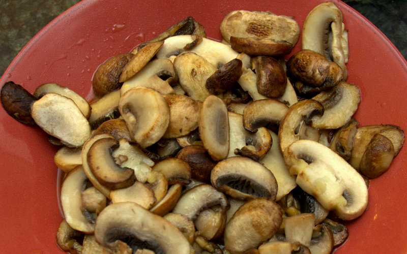browned mushrooms