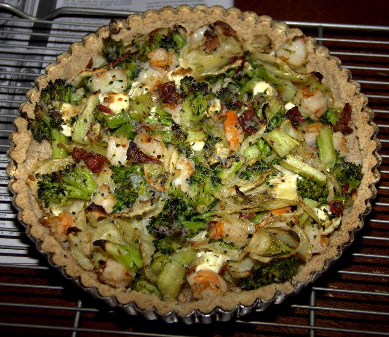 shrimp, broccoli, fennel and bacon tart