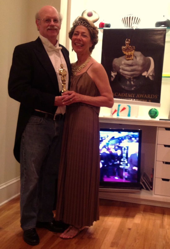 example of the black tie-blue jeans dress code at Mom's Oscar's party