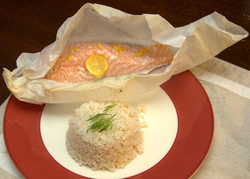 King salmon en papillote with Carolina gold rice and Meyer lemon