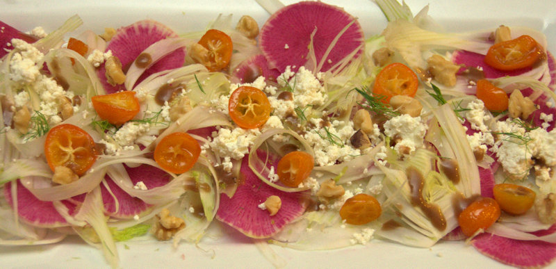 shaved fennel and watermelon radish salad with chevre, candied kumquats and toasted walnuts