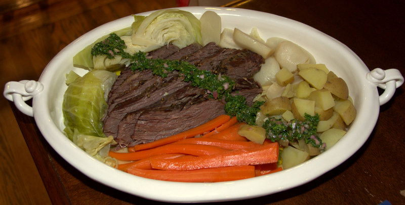 St. Patty's feast: corned beef and broth-poached veggies