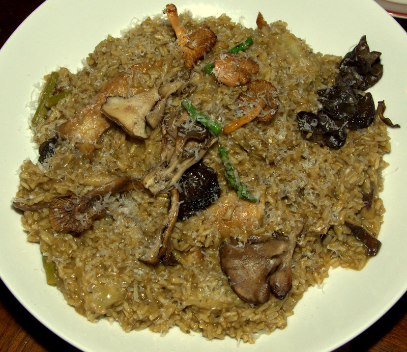 brown rice risotto with mushrooms