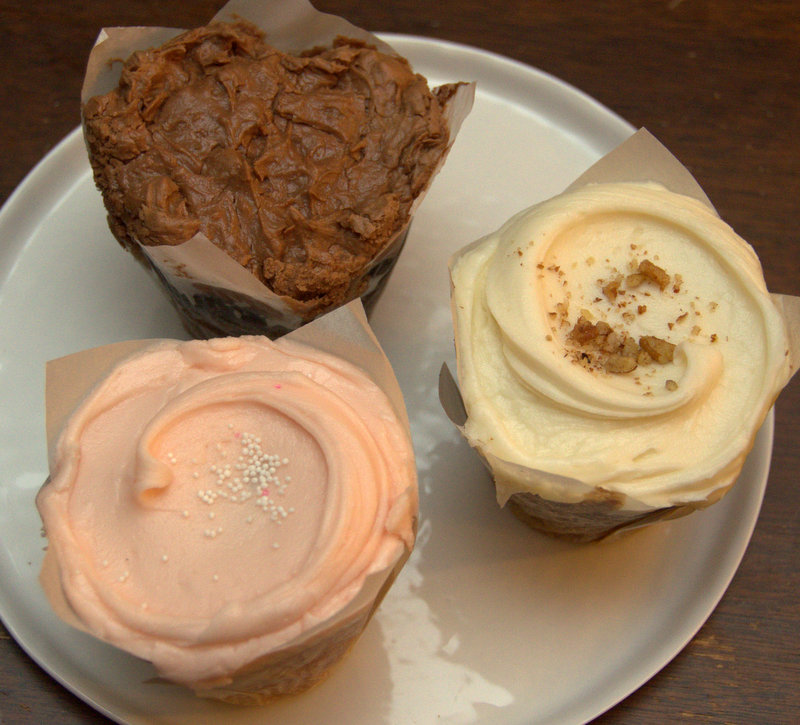 Baked & Wired cupcake trio: Texas sheetcake; strawberry; carrot cake.