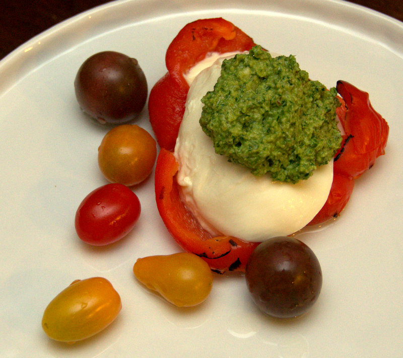 ramp pesto, mozzarella, burned pepper salad