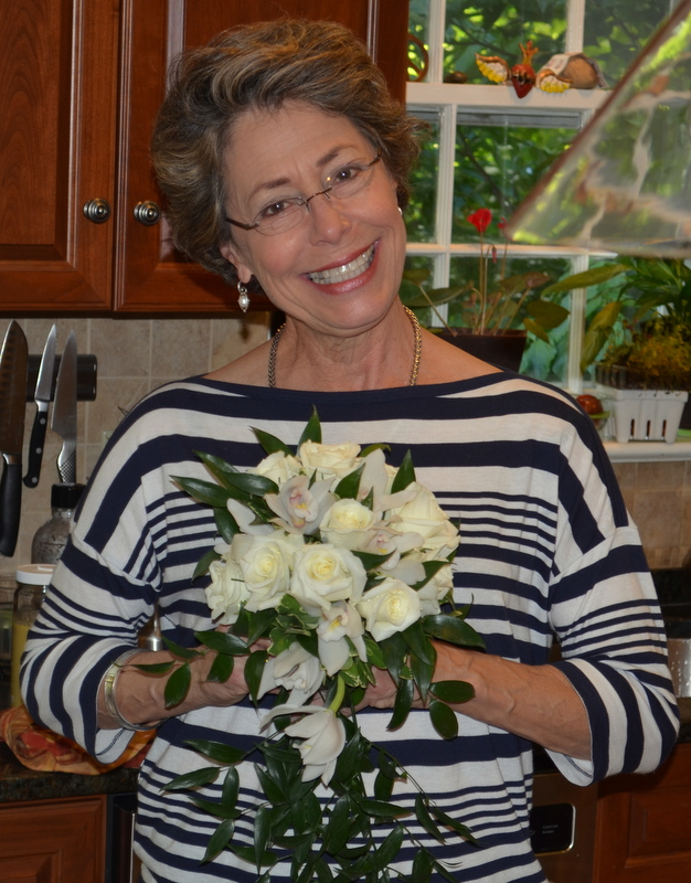 Mom with her bridal bouquet 40 years later