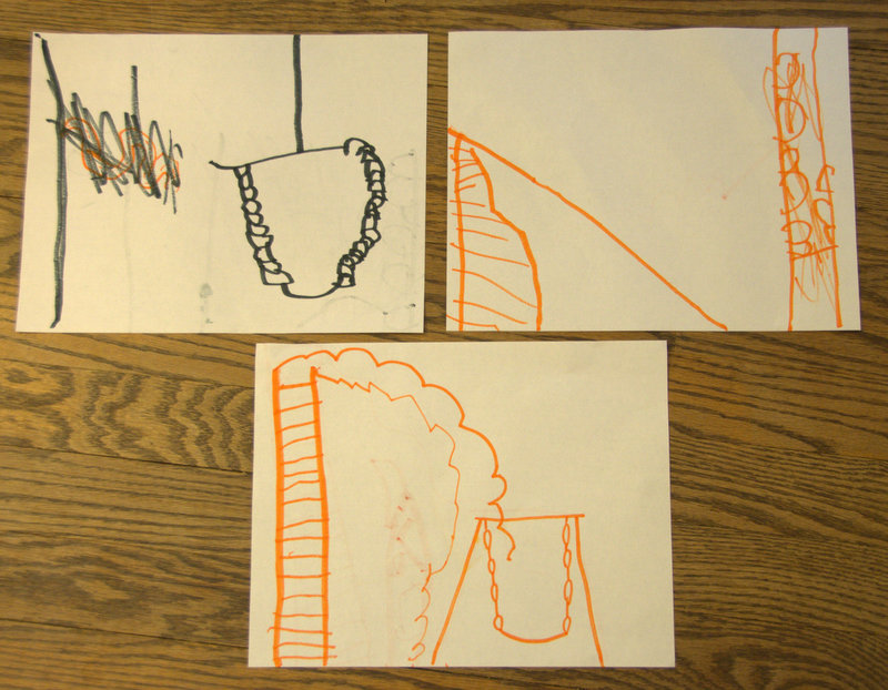 Oliver's attempts at drawing a playground