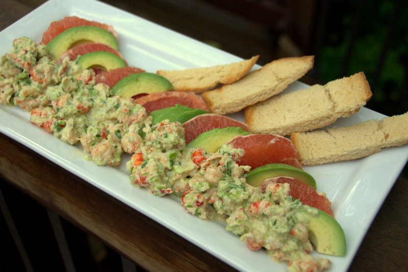 crawfish remoulade atop avocado and ruby grapefruit, with Texas toast