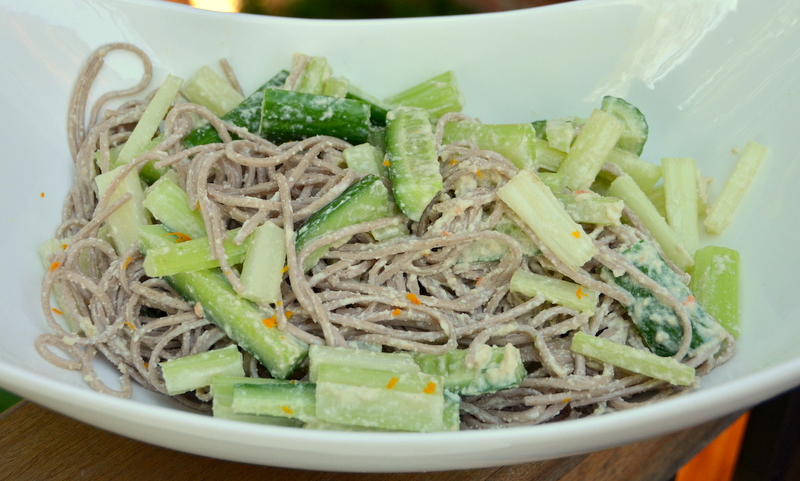 soba noodle salad with cucumbers, celery and peanut sauce