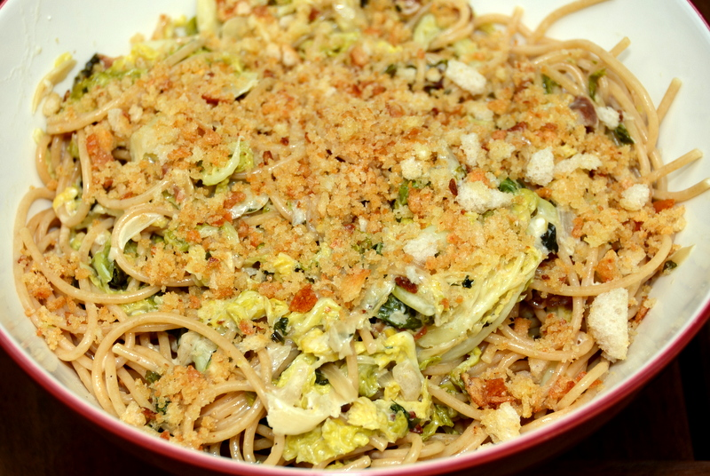 caramelized cabbage, bacon and parmesan pasta