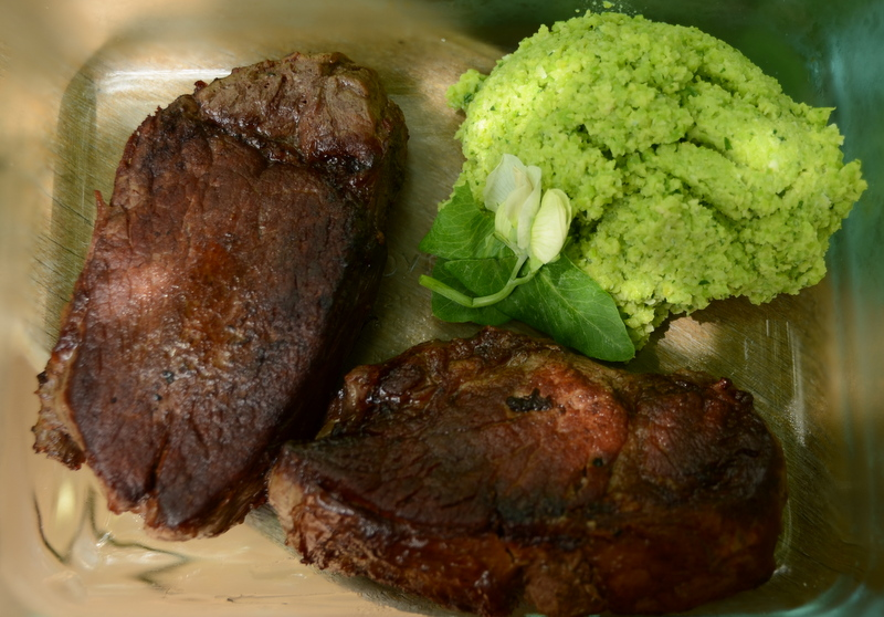 pan-seared filet mignon with fava bean and mint puree