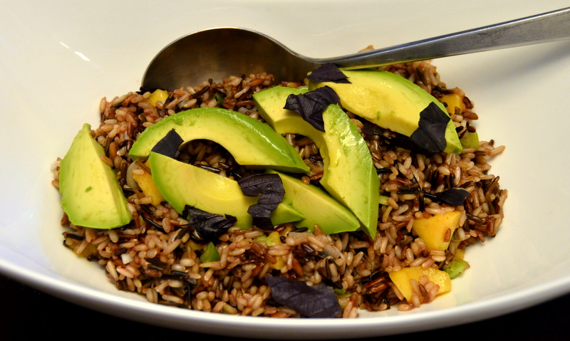 wild rice-peach-avocado salad