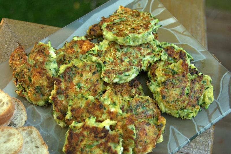 zucchini-feta fritters