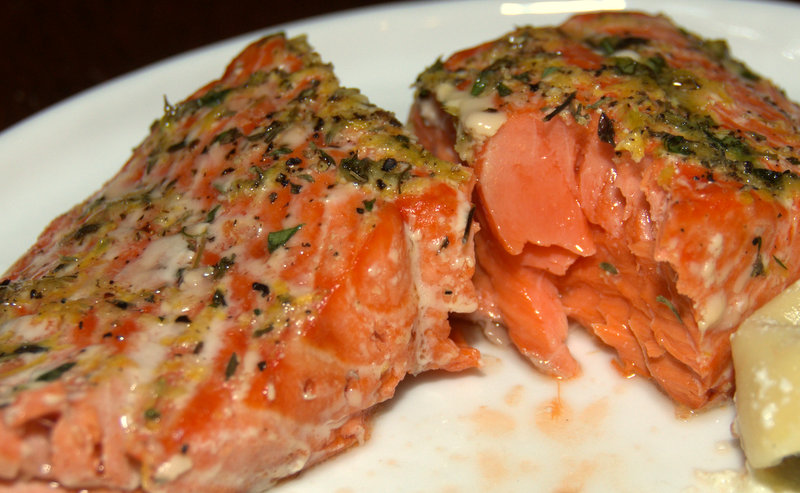 sockeye salmon with lemon-thyme crust