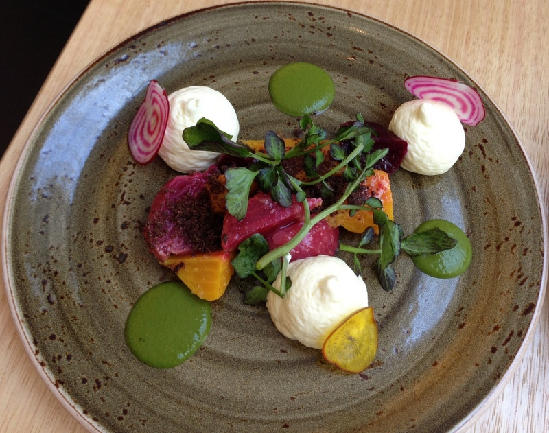 beet salad with coffee soil
