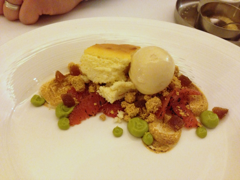 goat cheese cheesecake with cajeta ice cream, burnt grapefruit and avocado