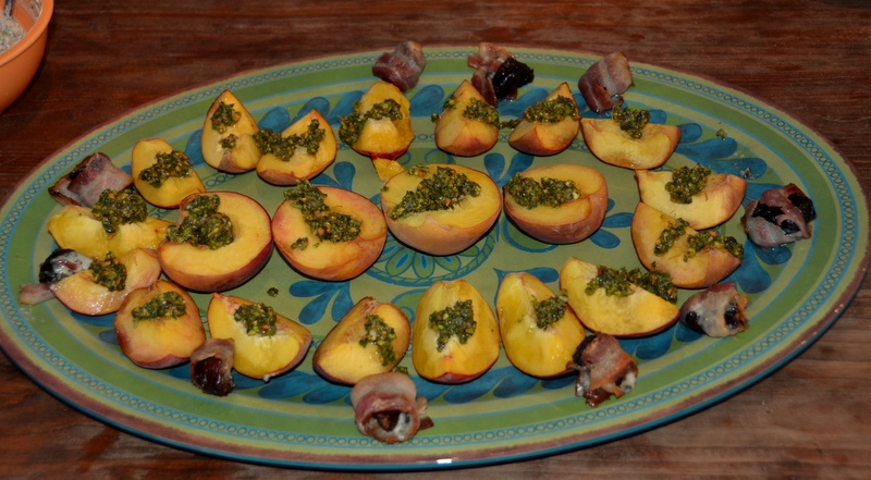 roasted peaches with mint-pistachio pesto