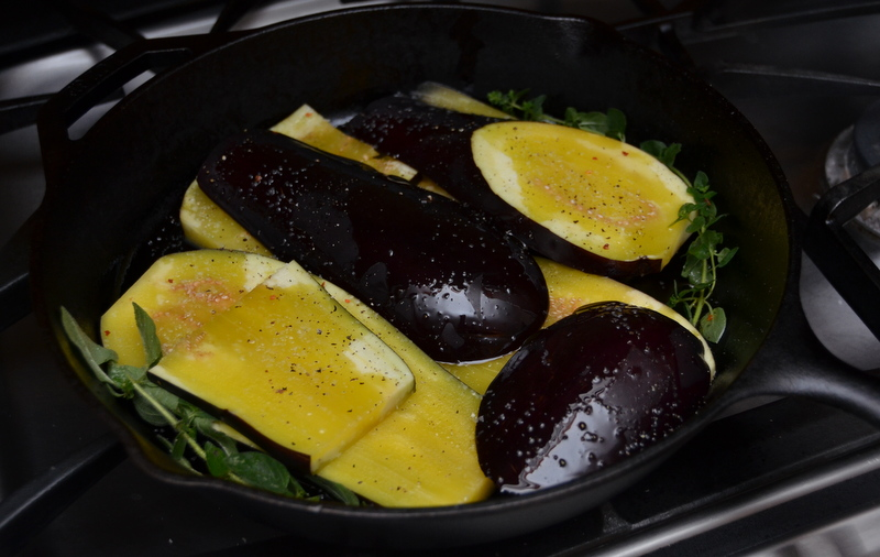 eggplant, marjoram, oil and salt nestled in my trusty Lodge