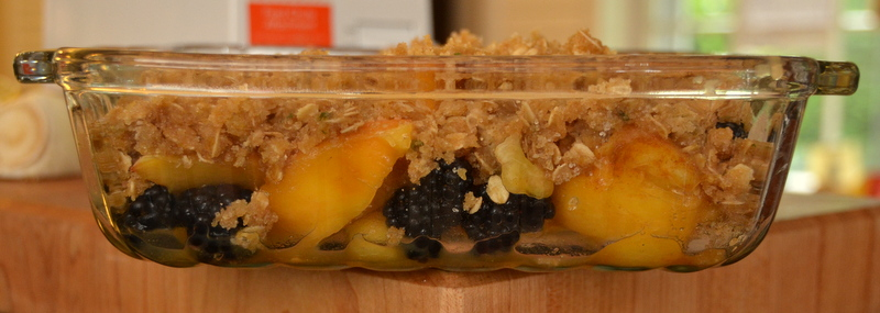 blackberry-peach crisp with sage-brown butter topping