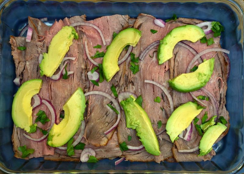 summer beef salad, layer 1