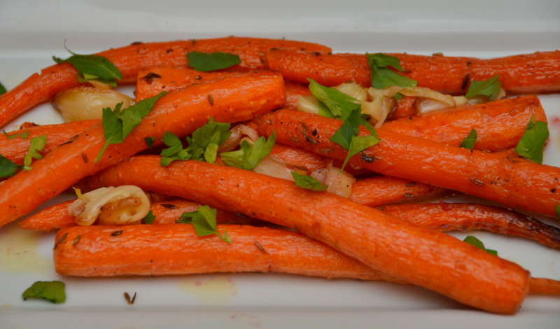 Roasted Carrots with Cumin, Blood Orange Vinaigrette and Crème Fraîche