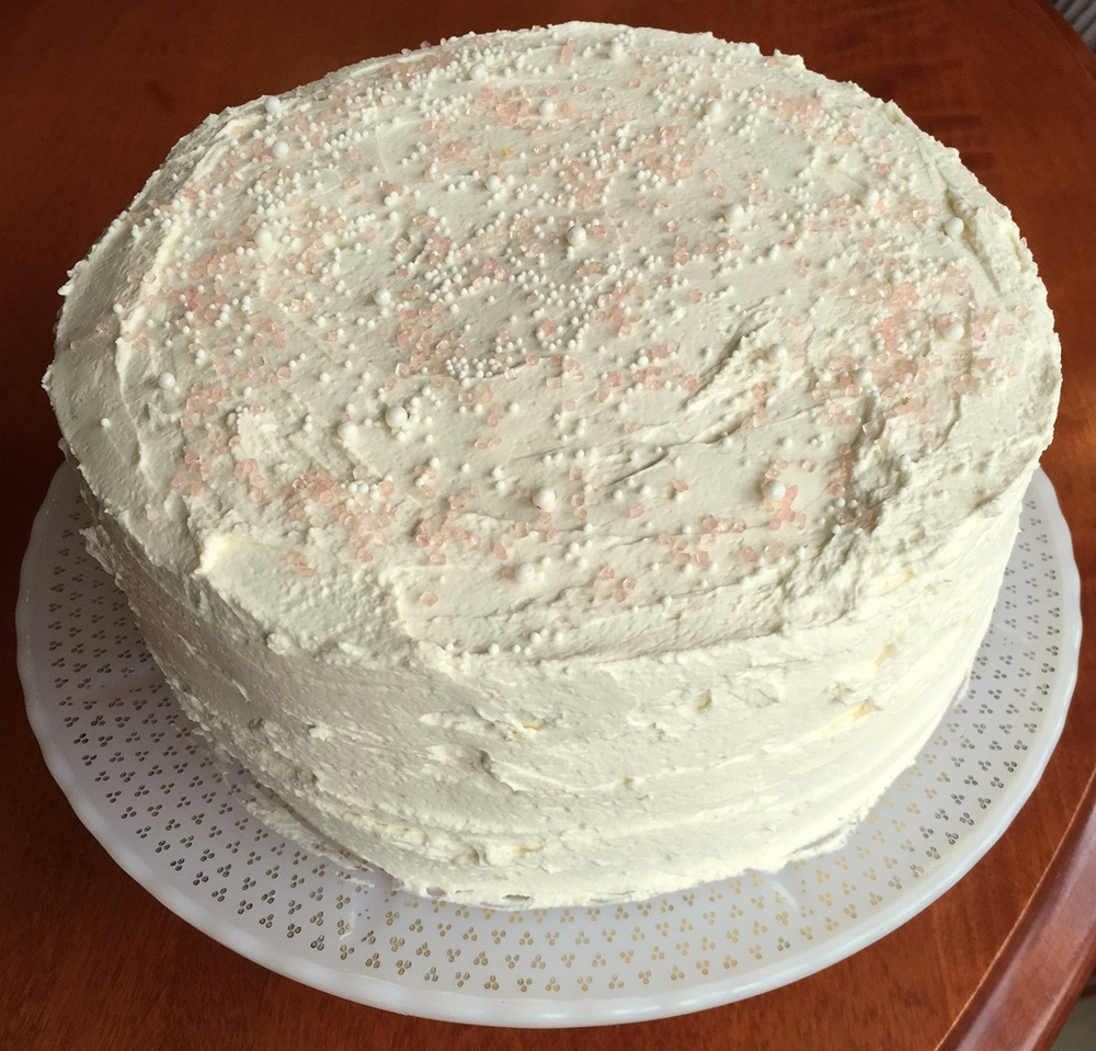 Easter cake: strawberry with whipped cream-mascarpone frosting
