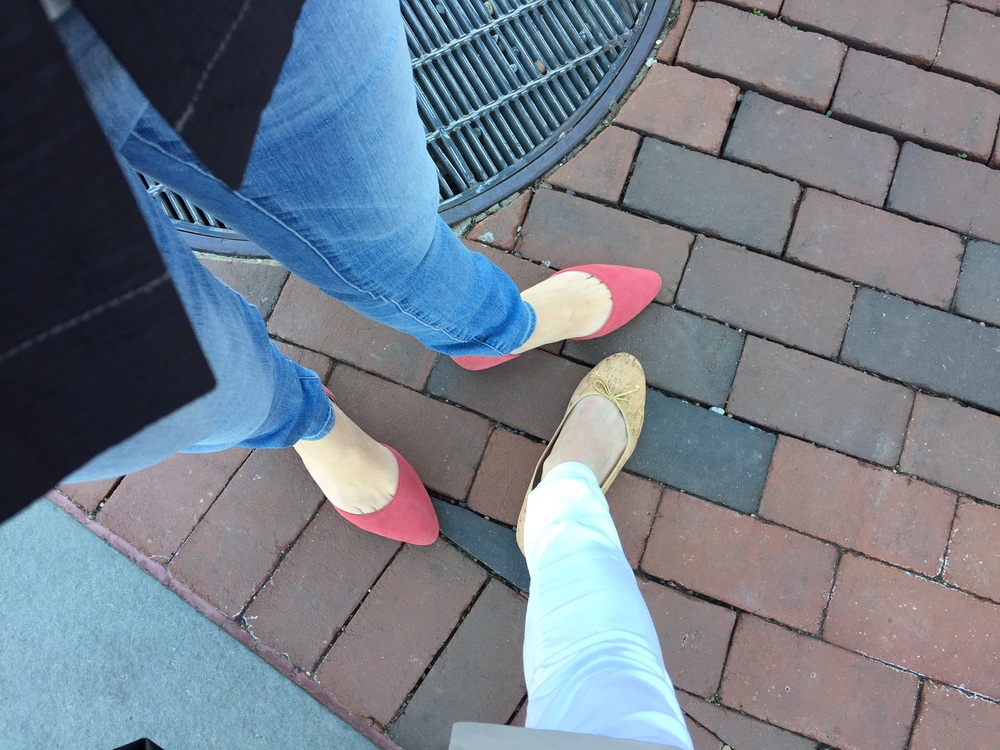 two pals wearing springy shoes (CF, thanks for putting on your pinks for me!)