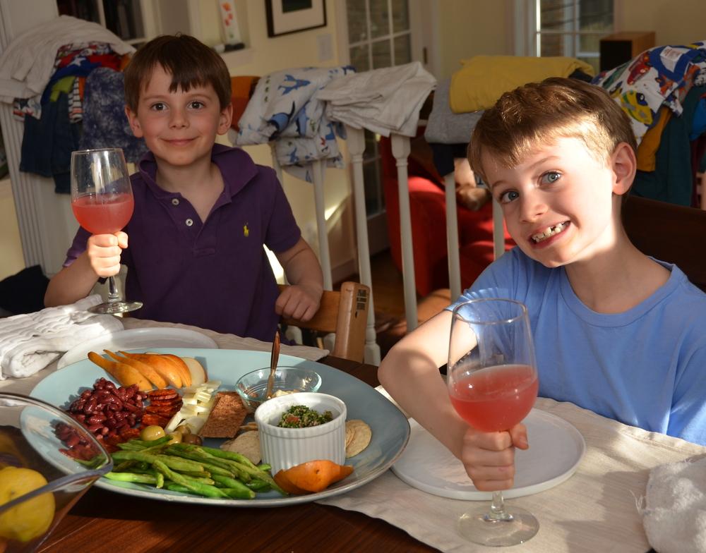 Friday night antipastodinner with strawberry lemonade in wine glasses. Festive!