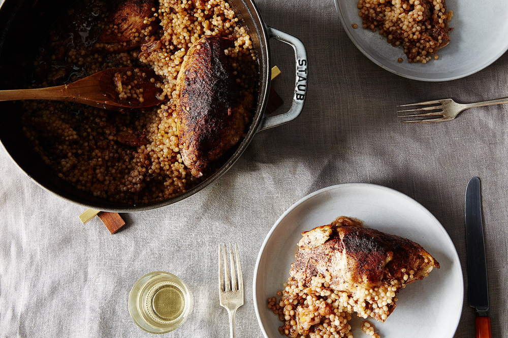 chicken with caramelized sumac onions, preserved lemon and israeli couscous (photo by James Ransom of Food52)