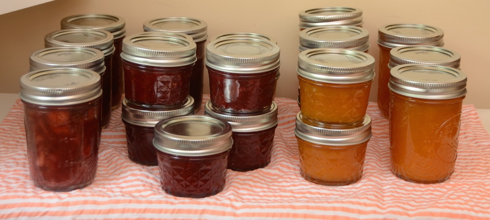 from left: strawberry-cardamom; strawberry-rhubarb-lemon; citrusy mango butter