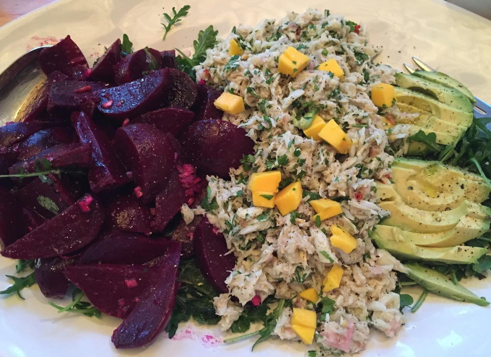 beets, crab salad and avocado with arugula