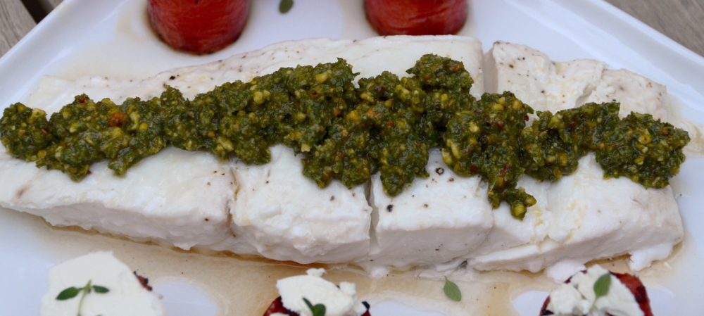 oven-roasted halibut with mint pistachio pesto
