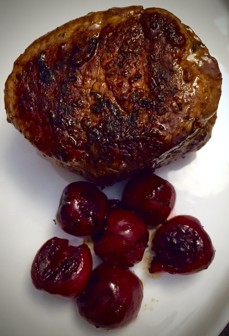 pan-seared filet mignon with roasted cherries