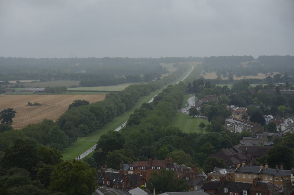 view from the Round Tower of the Long Walk, a 2.65 mile pedestrian road leading out from Windsor Castle. Only royal carriages can drive on it.