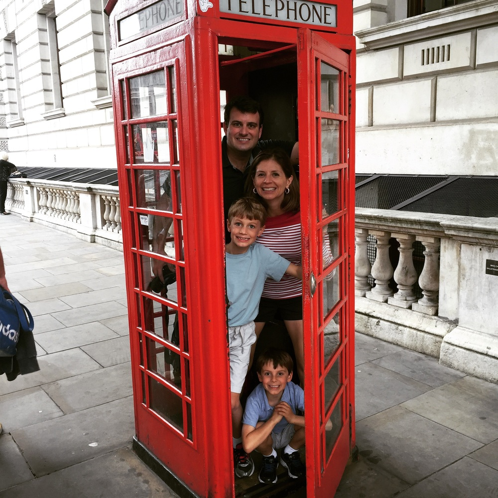 All in the charming red London phone booths.