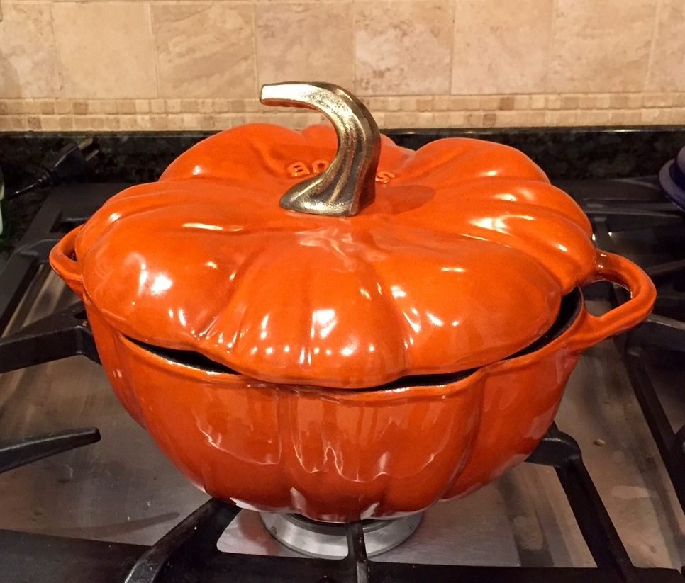 a pumpkin pot for tomato soup