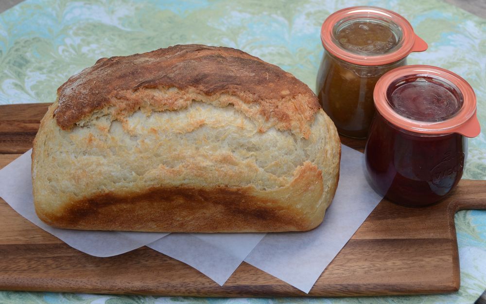 Friends coming for breakfast tomorrow get pumpkin scones, tea, and this homemade bread with homemade jams (rhubarb apple butter & spiced plum)