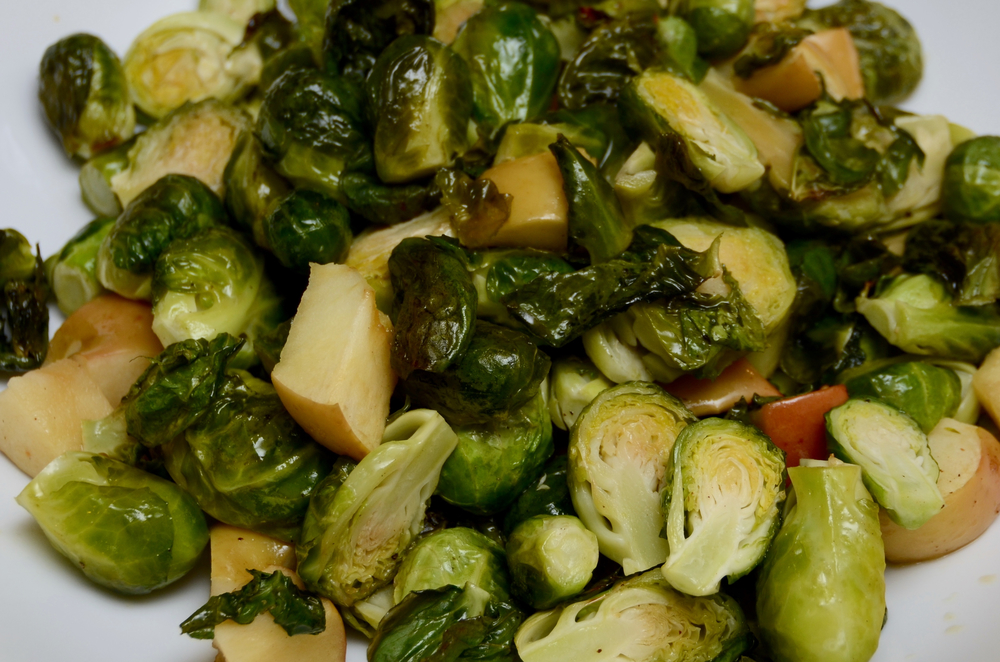 Mustardy maple Brussels sprouts and apples