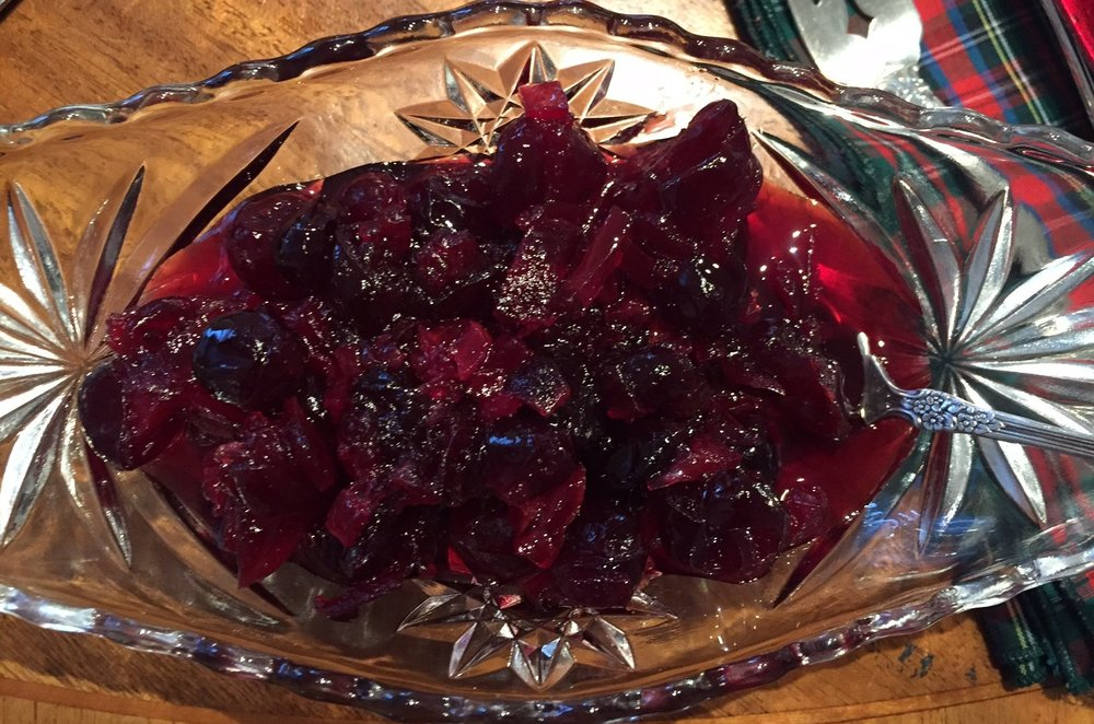 Nanny's cranberry sauce, served in one of the bowls she always used for it.
