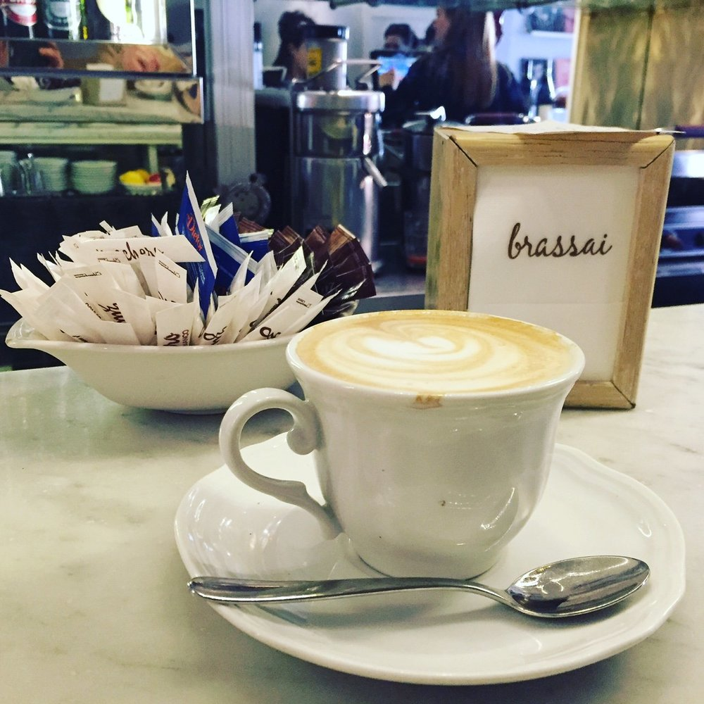 A morning cappuccino at Brassai.