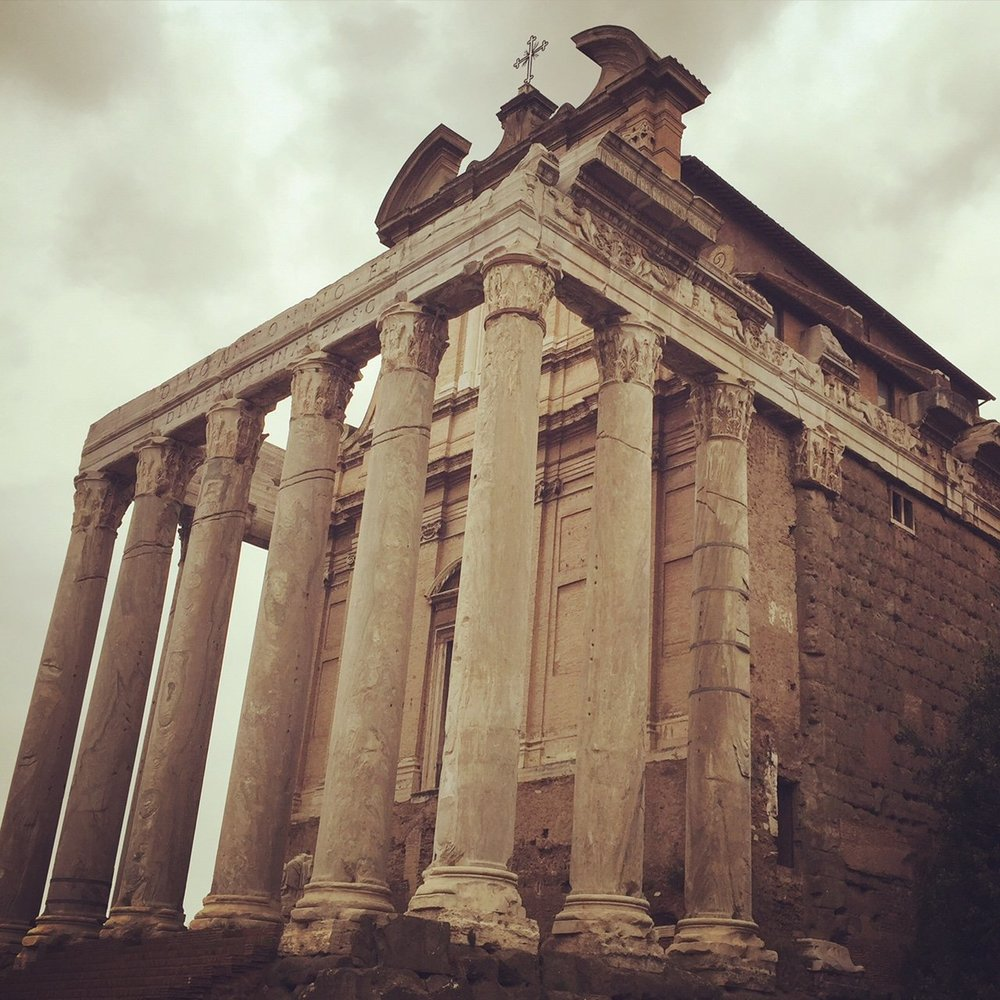 The Temple of Antoninus and Faustina on the Roman Forum. Built 141 AD.
