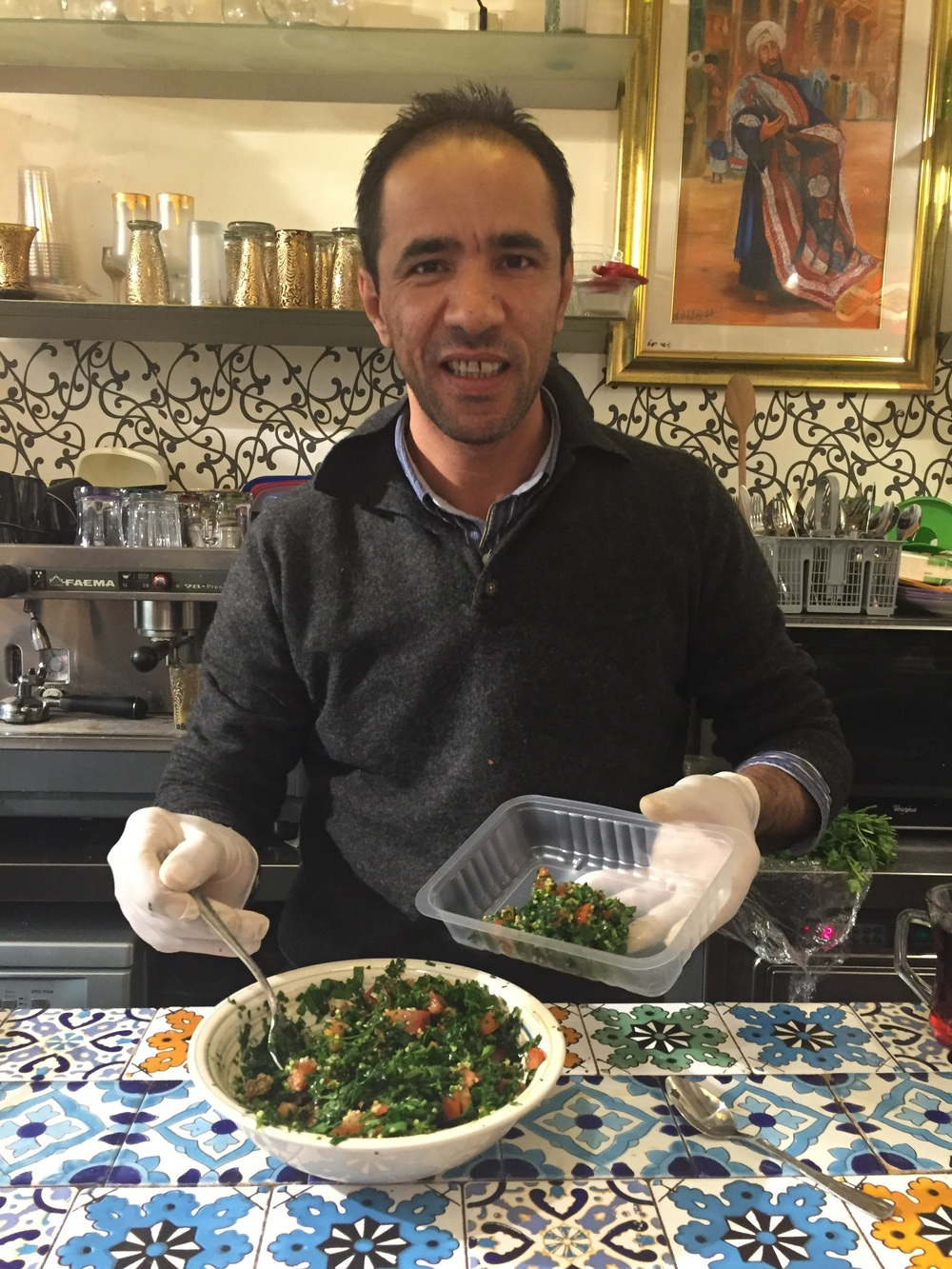 The lovely man who made me fresh taboule and said we must eat it within ten minutes. It was divine.