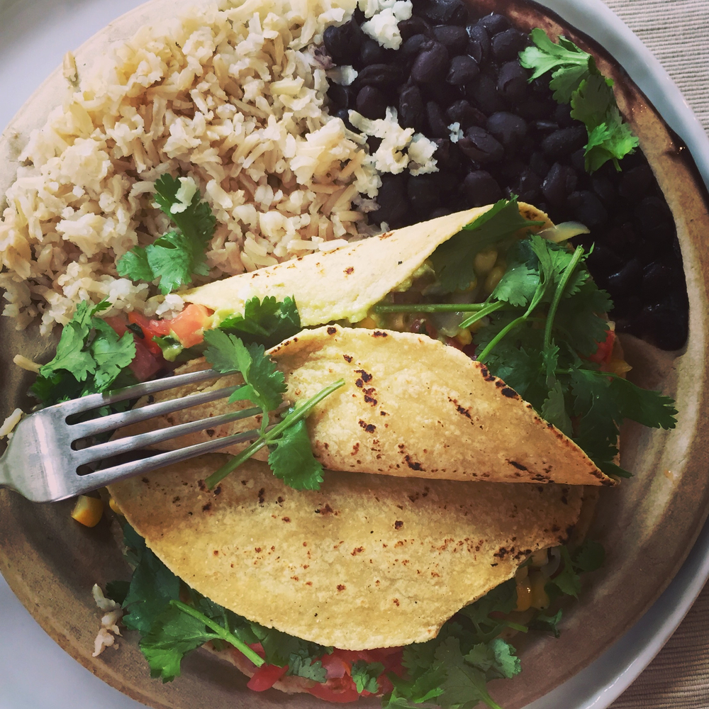 veggie tacos, beans and brown rice