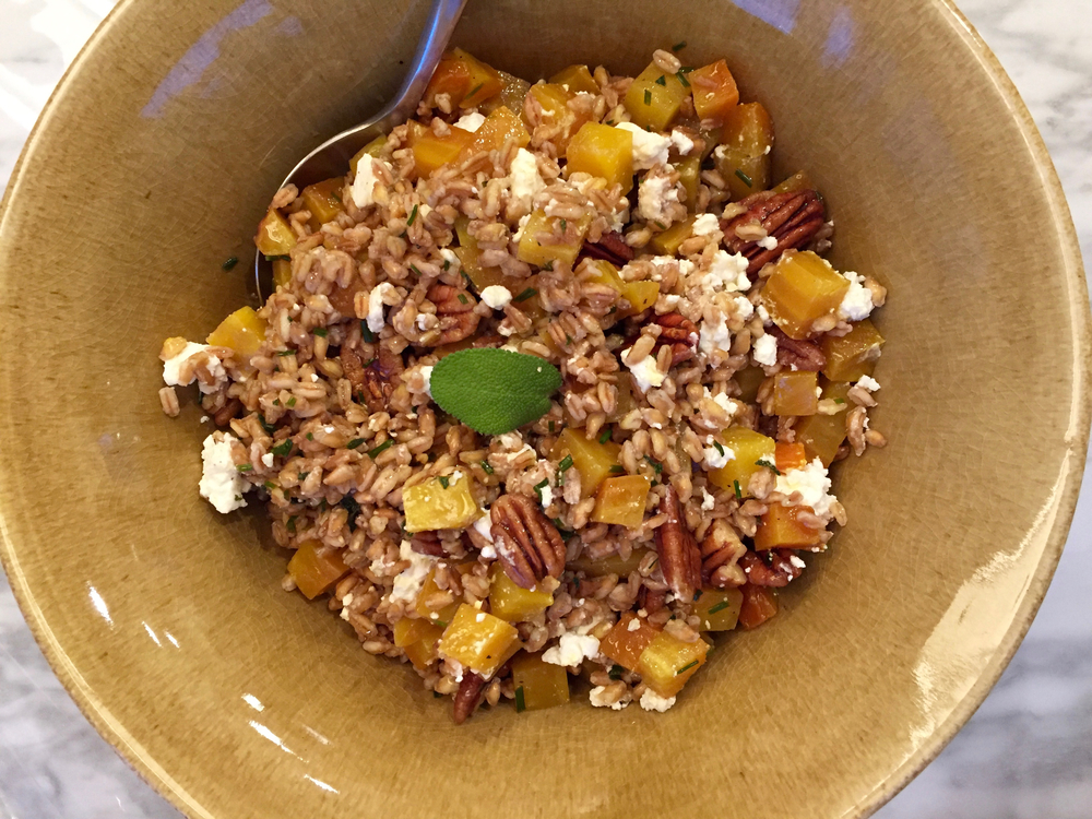 farro with golden beets, candied pecans, feta and chive-sage oil