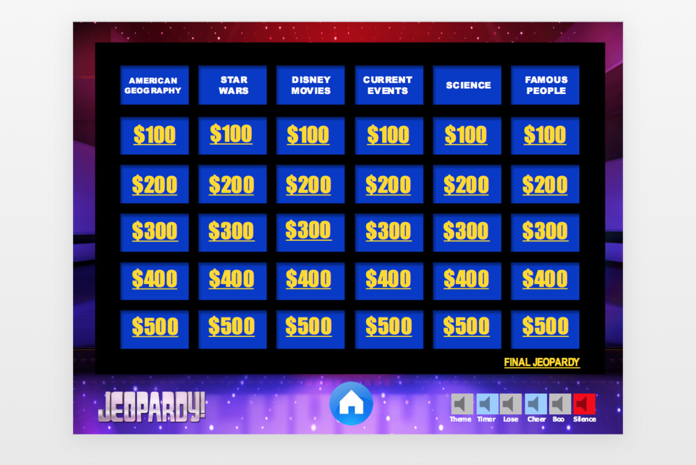 "Double Jeopardy (we couldn't figure out how to double the monetary amounts); below, an answer/question from Star Wars, and a ""Famous Person"" visual clue."