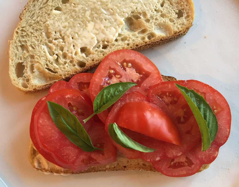 tomato sandwich with basil (so not traditional)